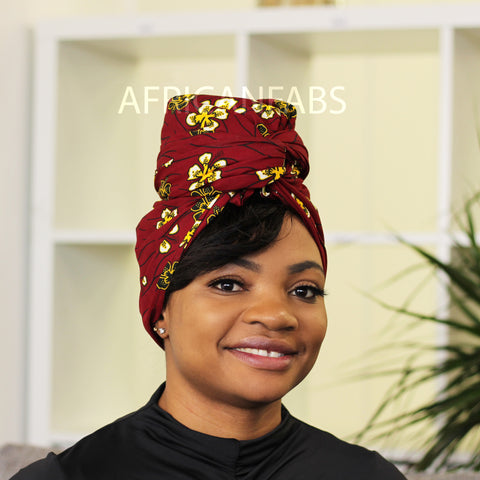 African headwrap - purple yellow shapes