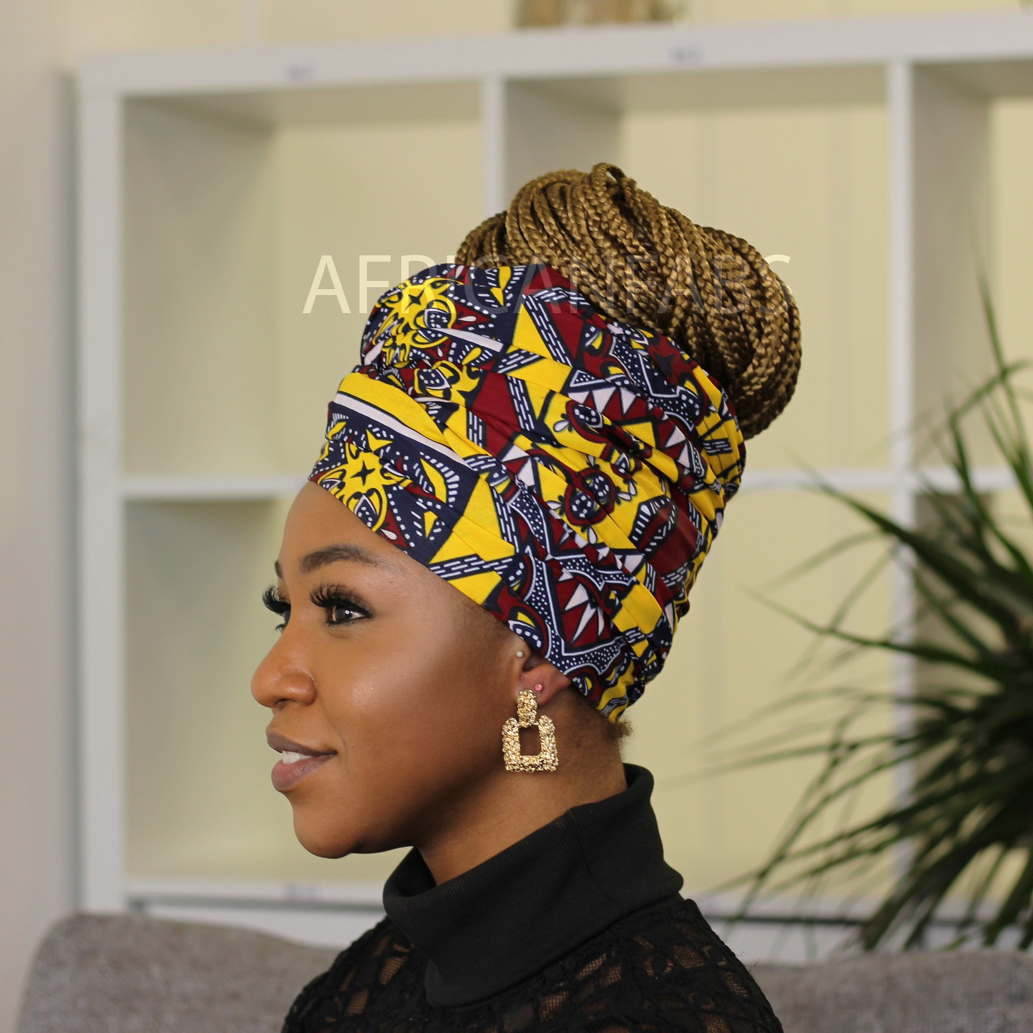 African headwrap - Green leaves