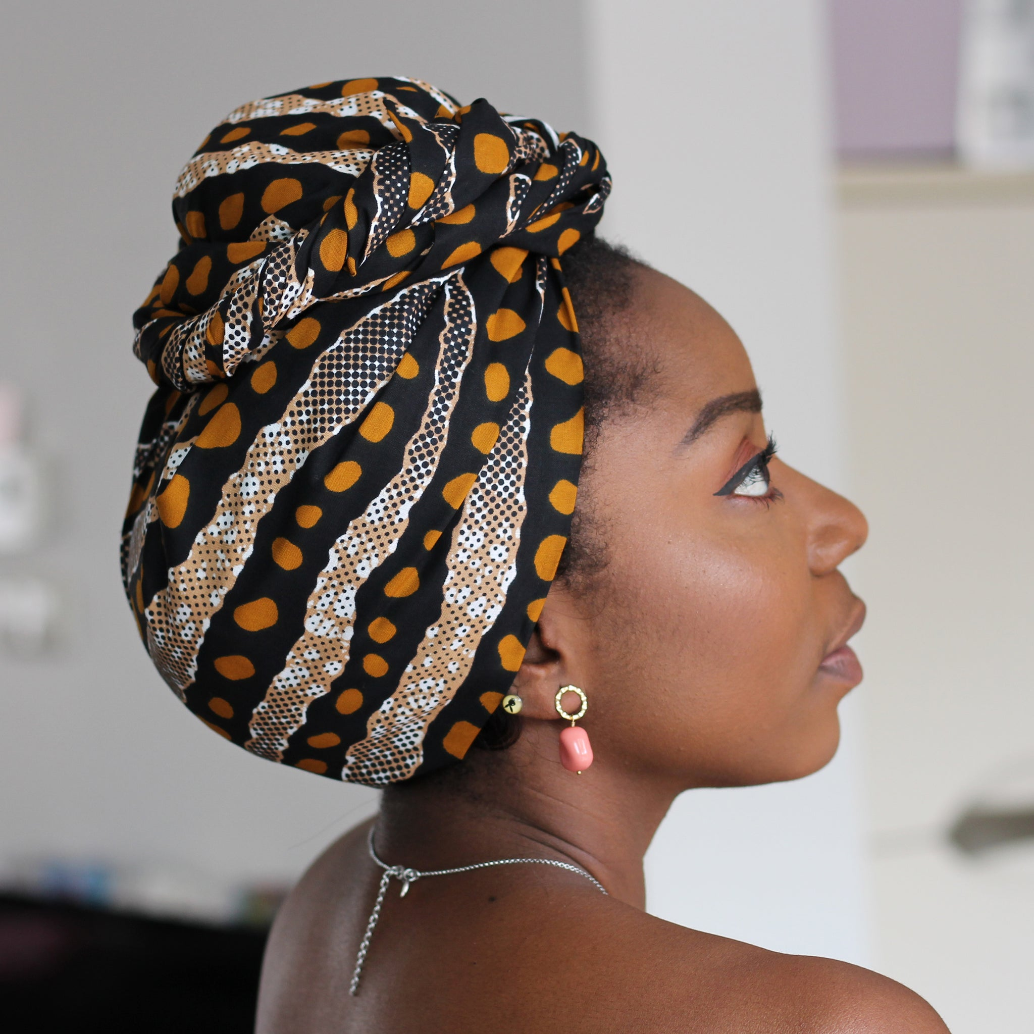 African headwrap - Bogolan / Mud cloth dots