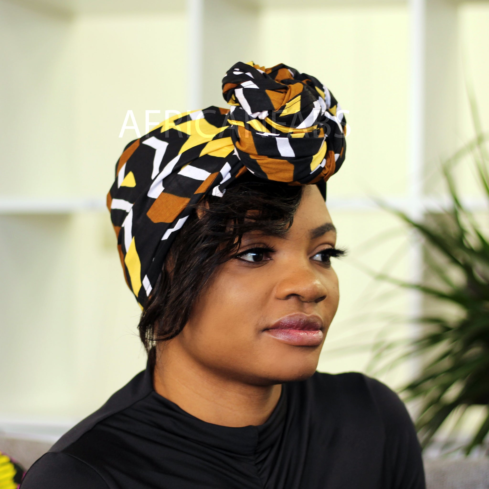 African headwrap - Blue orange twister