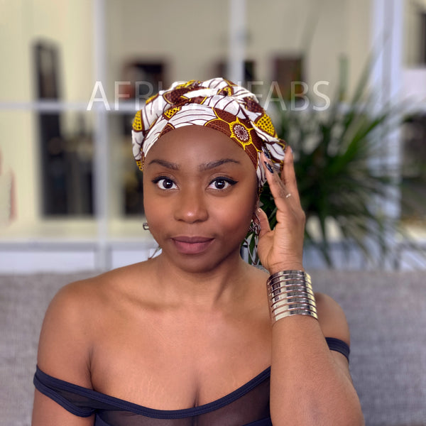 African headwrap - Red white Hibiscus flower