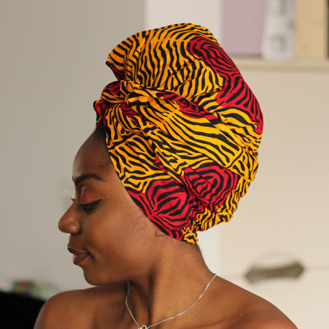 African headwrap - Dark yellow red stripe