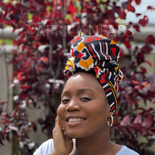 African headwrap - Red razor blade
