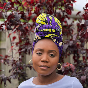 African headwrap - Blue pink rope