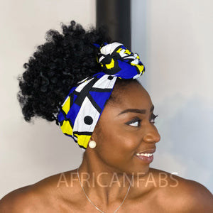 African headwrap - Blue yellow Samakaka