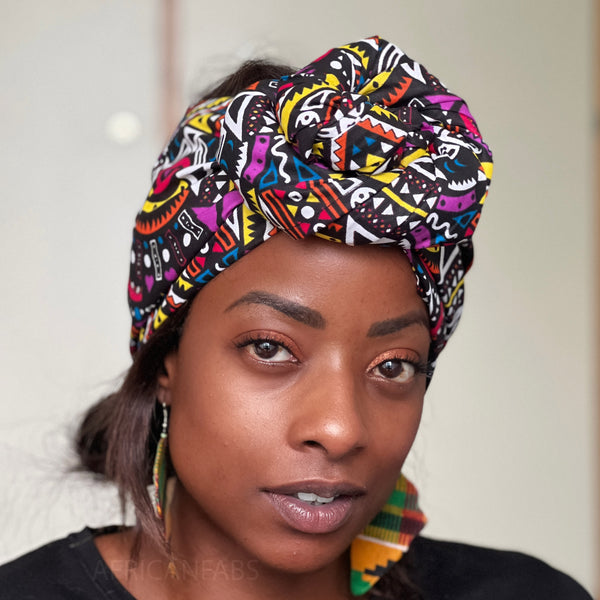 African headwrap - Purple yellow links