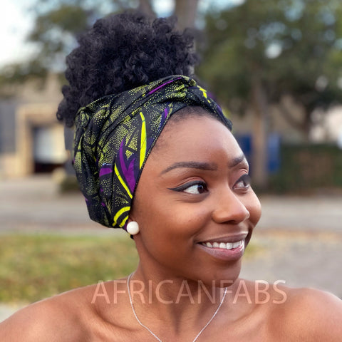 African Vlisco headwrap - Purple / green butterfly
