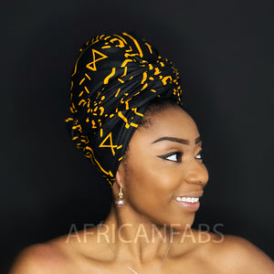 African Black / orange bogolan / mud cloth headwrap