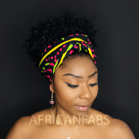 African Black / pink Bogolan / mud cloth headwrap