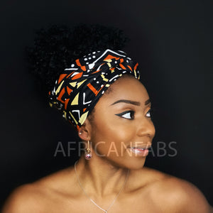 African Black / orange / white Bogolan / mud cloth headwrap