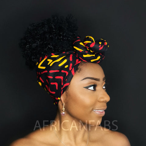 African Black / yellow Bogolan / mud cloth headwrap