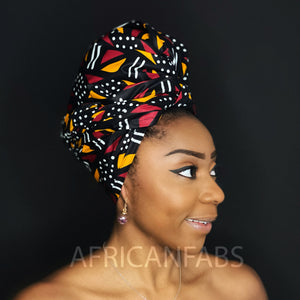 African White / black / yellow Bogolan / mud cloth headwrap