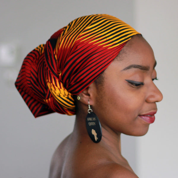 African headwrap - Red / Yellow Swirl (Vlisco)