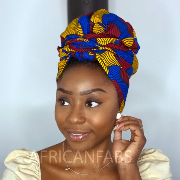 African headwrap - Red / Blue / Yellow Santana (Vlisco)