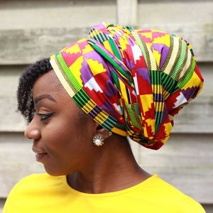 African headwrap - Red / Purple kente print