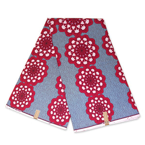 African Wax print fabric RED FLOWERBANDS