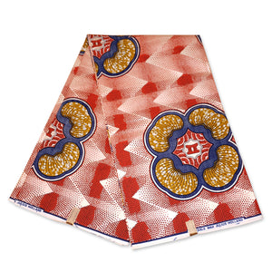 African Wax print fabric Metallic Red SHAPES - paste fit