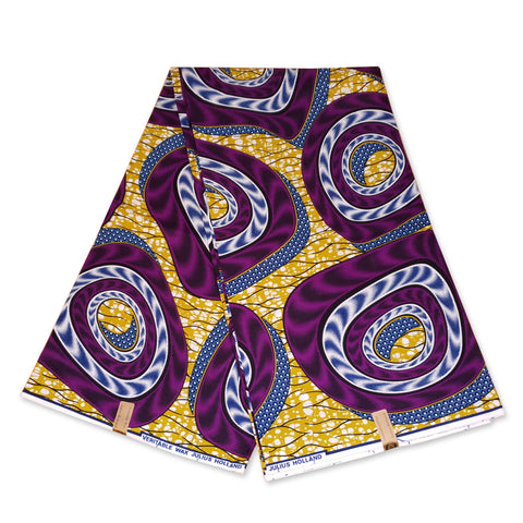 African Wax print fabric MUSTARD / PURPLE TORNADO