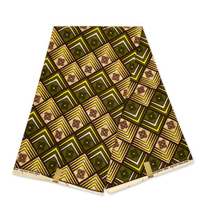 African Wax print fabric - Blue / white dotted circles