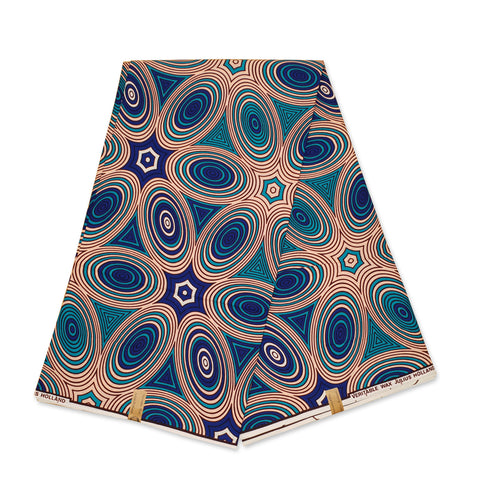 African Wax print fabric - Blue / gold embellished special edition