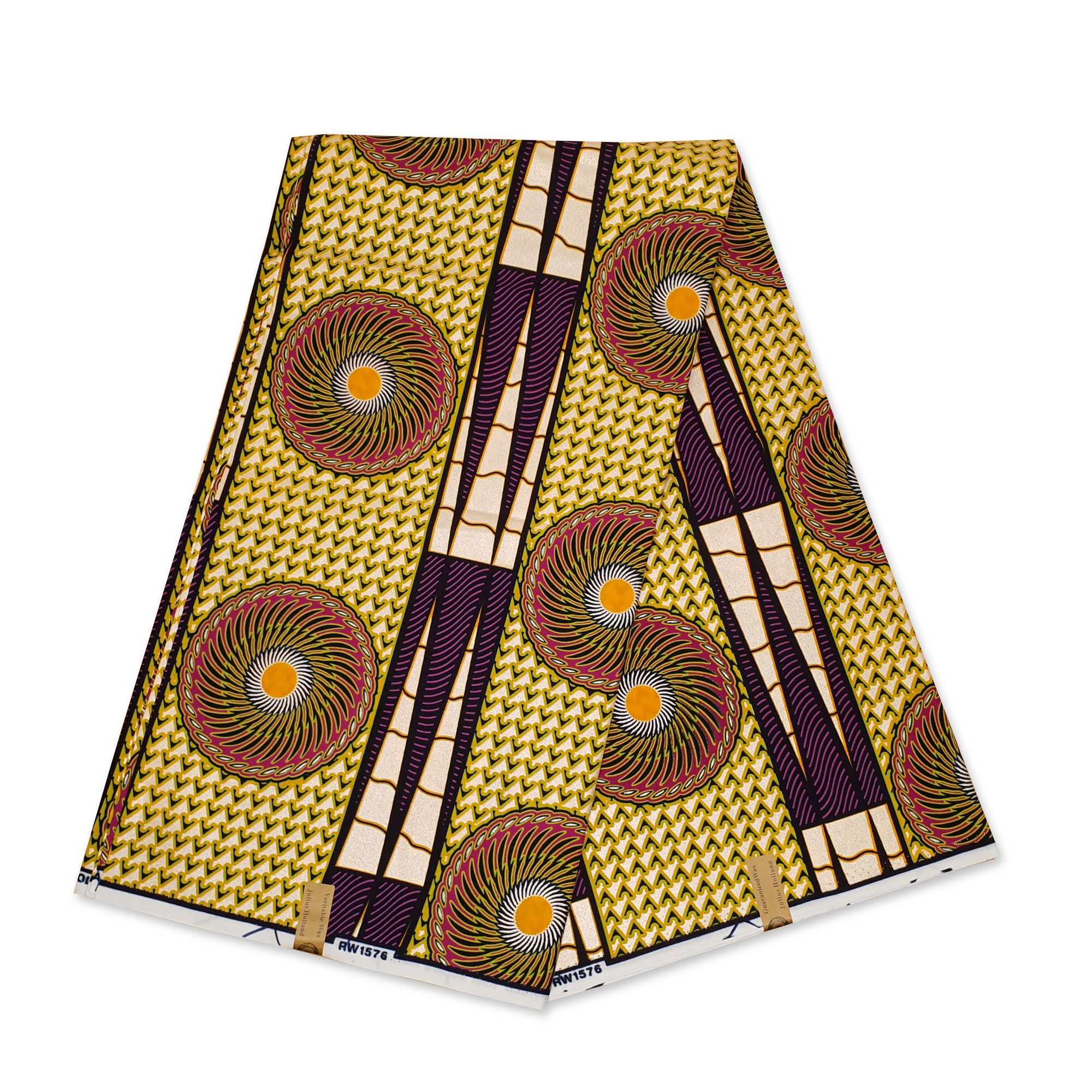 African Wax print fabric GREEN / RED SWIRL FAN