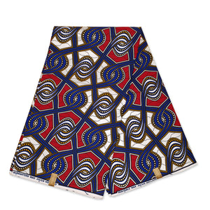 African Wax print fabric - Red / beige drips