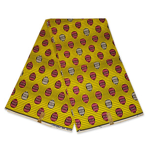 African Wax print fabric Yellow cage