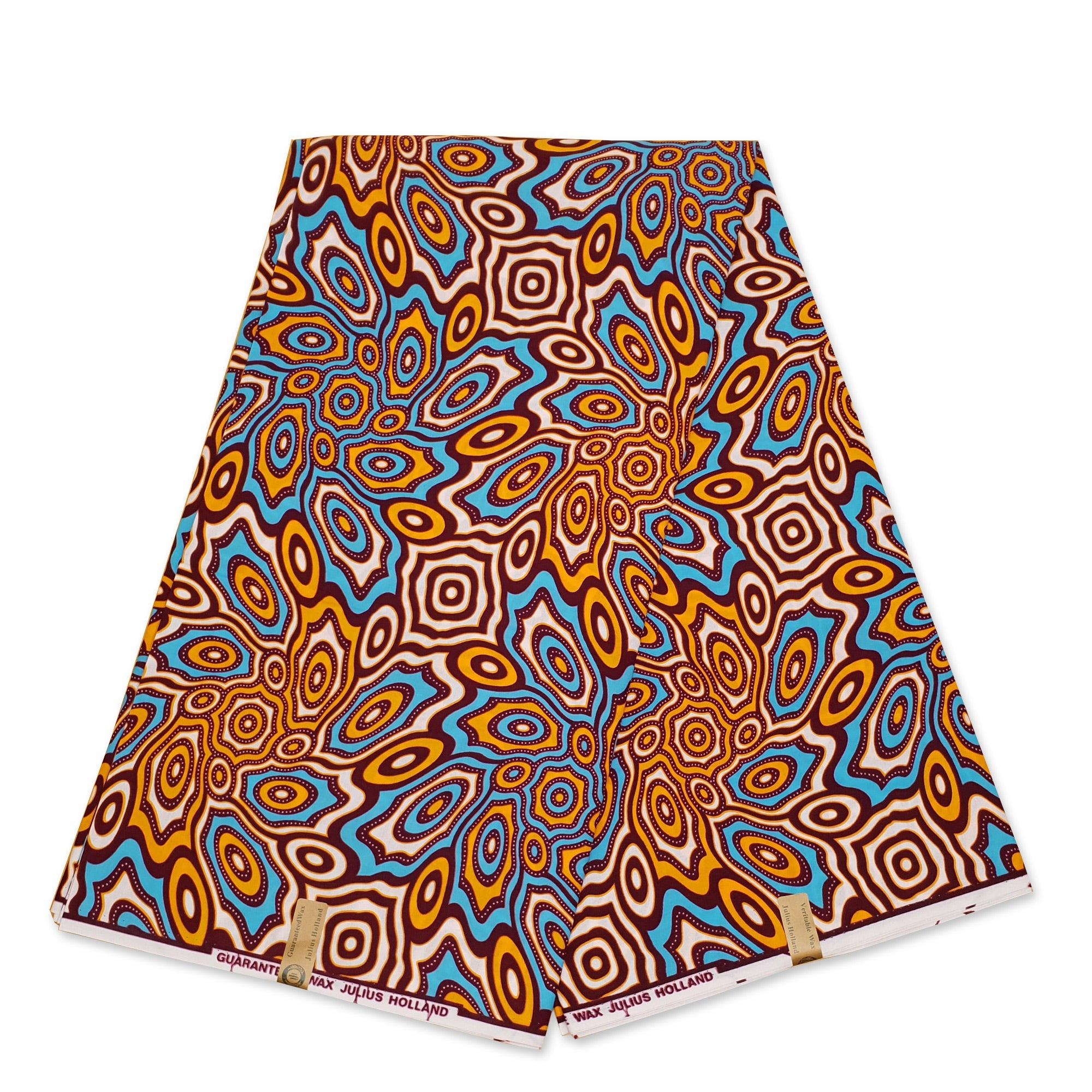 African Wax print fabric - Gold / Blue Heraldic - gold embellished - Brillant Platinum Edition