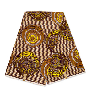 African Wax print fabric - Blue Yellow shapes - gold embellished - Brillant Platinum Edition