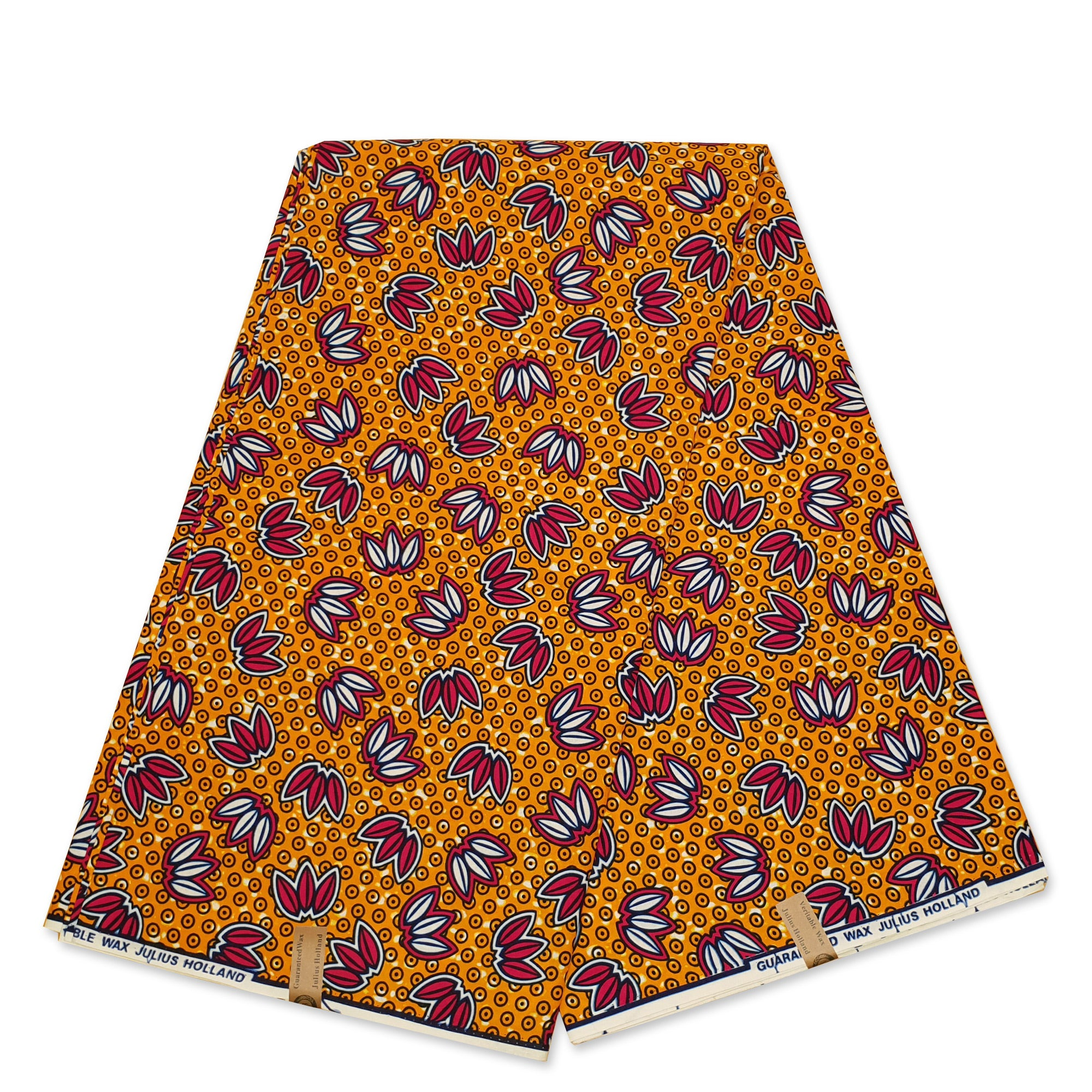 African Wax print fabric - Blue Yellow dotted circles - gold embellished - Brillant Platinum Edition