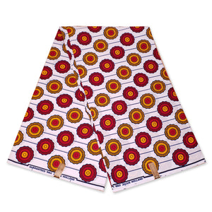 African Wax print fabric - Red Yellow rounded shapes