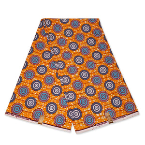 African Wax print fabric - Orange blue rounded shapes