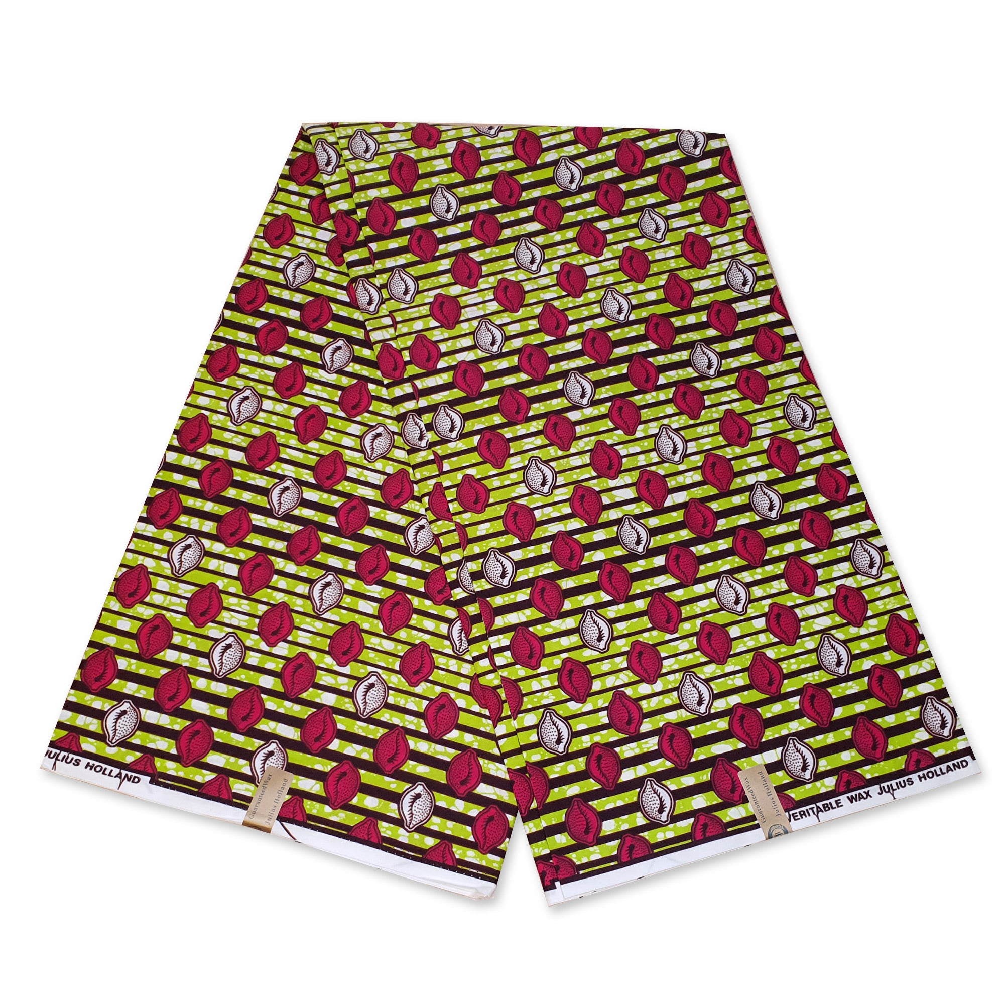 African Wax print fabric - Lime green Shells