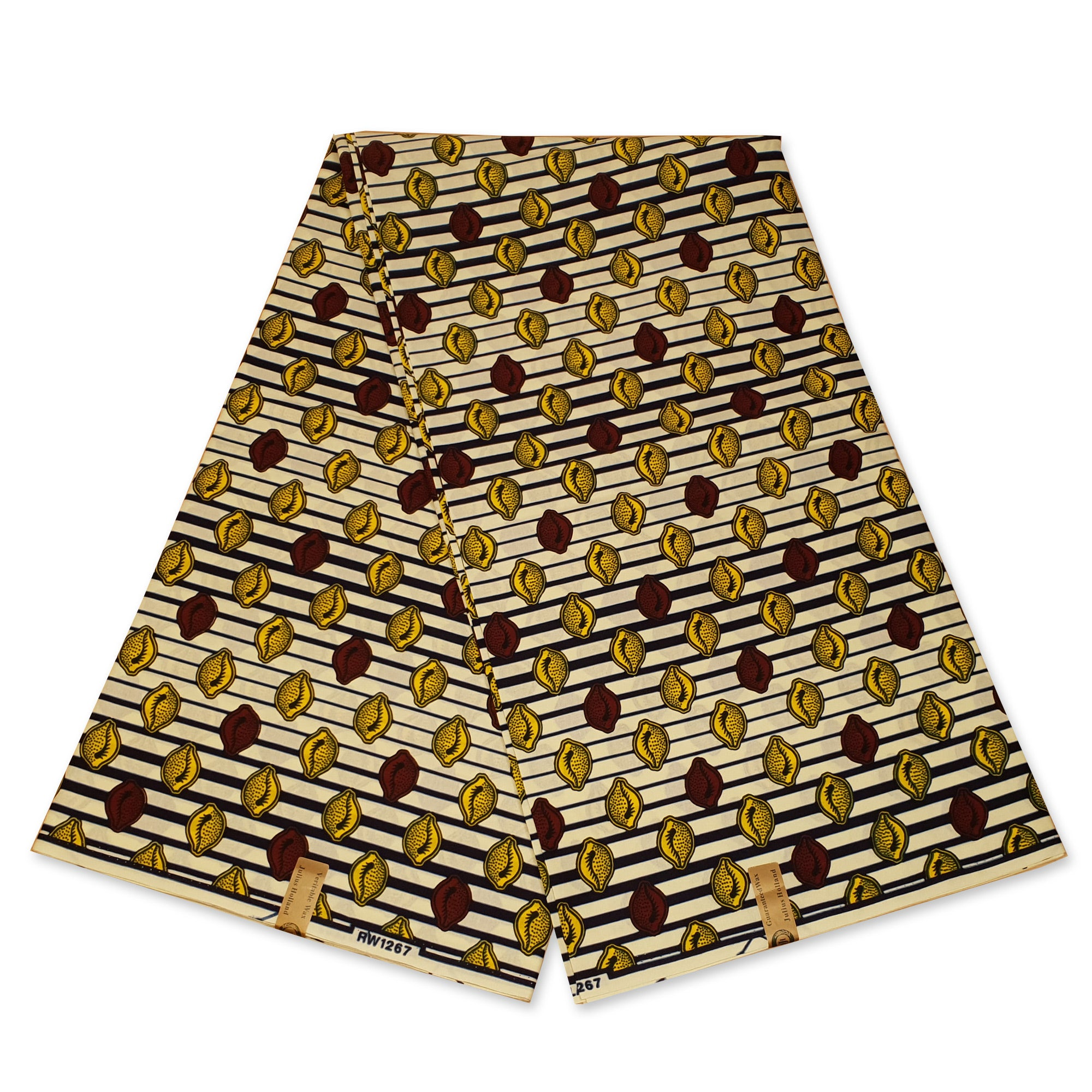 African Wax print fabric - Yellow brown Shells