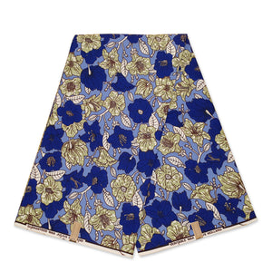 African Wax print fabric - Mustard Blue Royalties