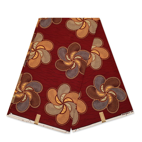 African Wax print fabric - Brown yellow fruits