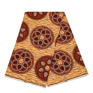 African Wax print fabric - Blue Yellow flowers