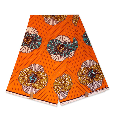 African fabric Super Wax - Orange Decoration