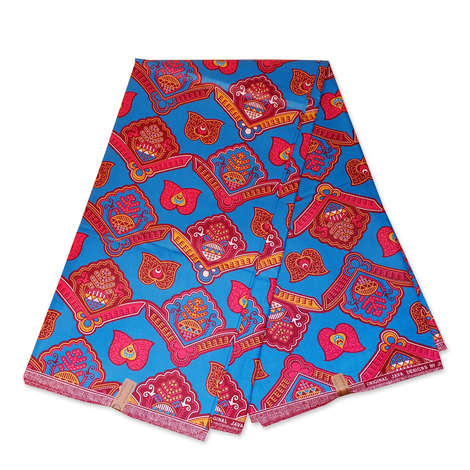 African Java Wax print fabric - Blue pink shields