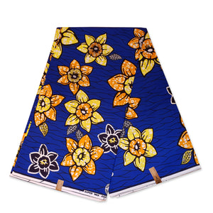 African fabric Super Wax - Blue yellow flowers