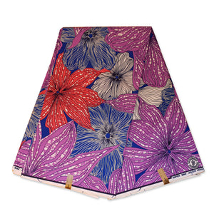 African fabric Super Wax - Purple Dark blue big flowers