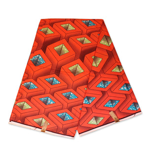 African fabric Super Wax - Coral 3D squared cones