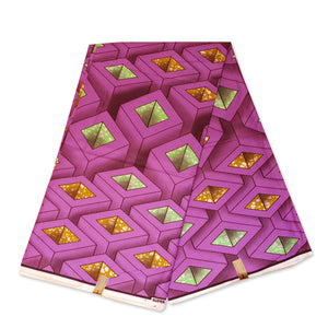 African fabric Super Wax - Purple 3D squared cones