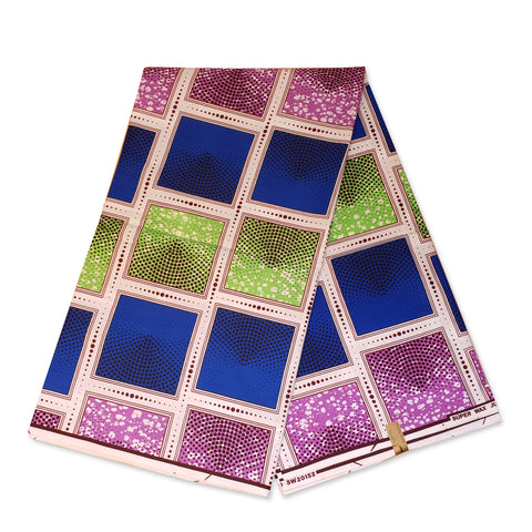 African fabric Super Wax - Blue Green Purple faded squares
