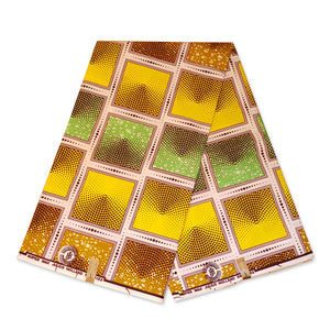 African fabric Super Wax - Green Yellow Mustard faded squares