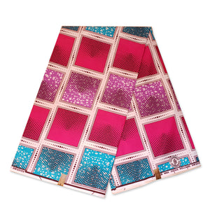 African fabric Super Wax - Pink Lightblue faded squares