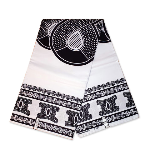 African Wax print fabric - Black / White Infinity