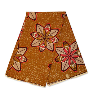 African Wax print fabric - Mustard starflowers