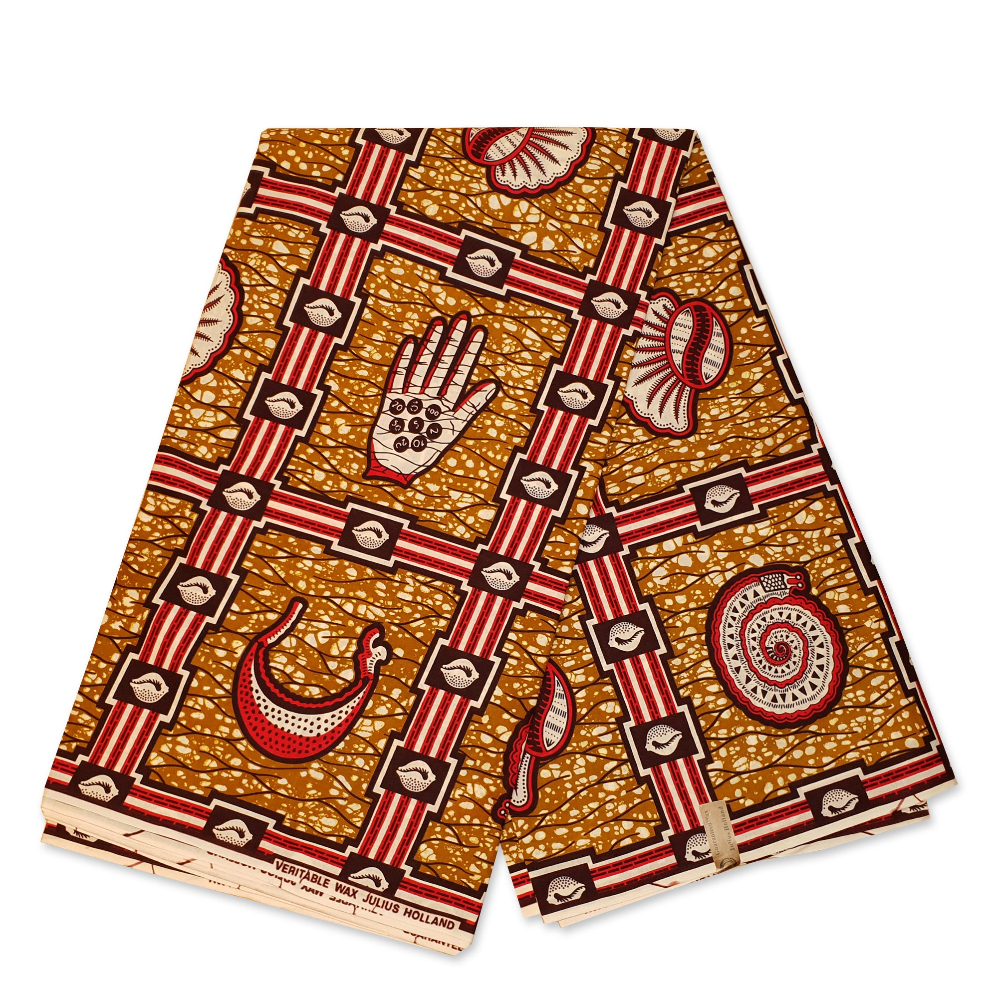 African Wax print fabric - Mustard / Red ancient symbols