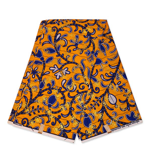 African Wax print fabric Osikani - Yellow Blue GOLD Leaftrail